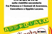 Mozione: Viabilità secondaria tra i Comuni di Cancellara- Oppido Lucano- Acerenza e Potonza