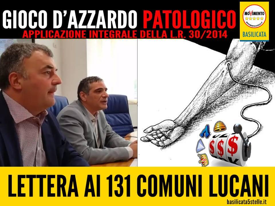 """""""NO-SLOT"""": """"LA VITA E' UNA, NON GIOCARTELA"""". Ecco la lettera inviata ai 131 comuni lucani."""