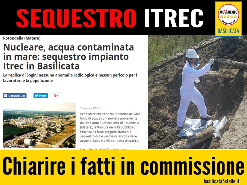 Richiesta audizione in terza commissione su sequestro vasche ITREC di Rotondella.