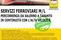 Servizi ferroviari M/L percorrenza da Salerno a Taranto  in continuità con l'Alta Velocità